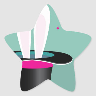 Bunny in a hat magic star sticker