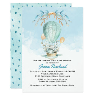 Bunny in a Hot Air Balloon Baby Shower Invitation
