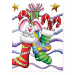 Bunny in a Stocking Postcard
