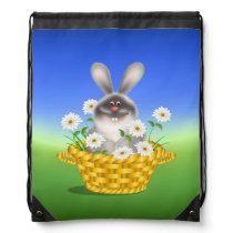 Bunny in Basket Drawstring Backpack