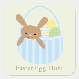 Bunny in Basket Easter Brunch Square Sticker