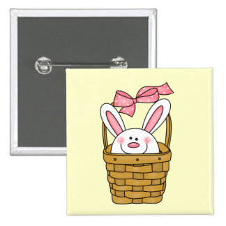 Bunny in Basket Pink Tshirts and Gifts Pinback Button