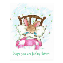 bunny in bed get well postcard