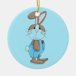 Bunny In Blue Overalls Ceramic Ornament