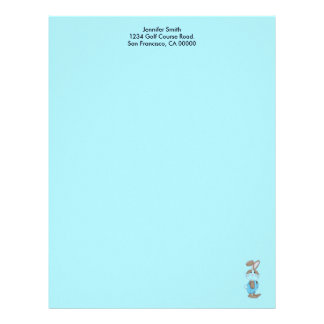 Bunny In Blue Overalls Letterhead