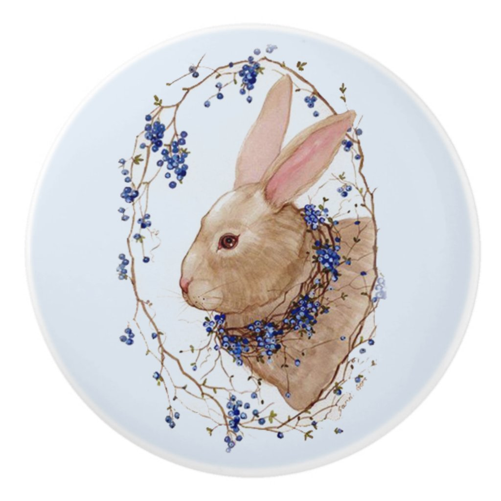Bunny in Blueberry Wreath Round Ceramic Knob