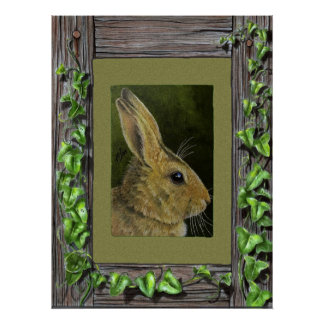 Bunny In Ivy Border Posters