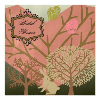Bunny in Magic Forest Bridal Shower Invitation