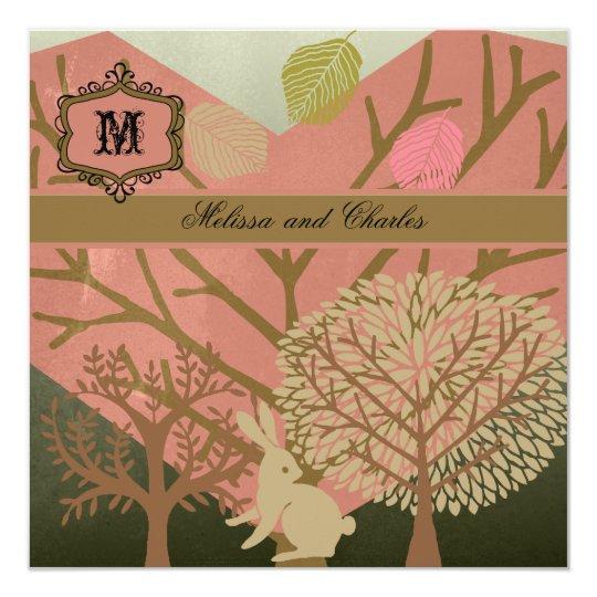 Bunny in Magic Forest Square Wedding Invitation