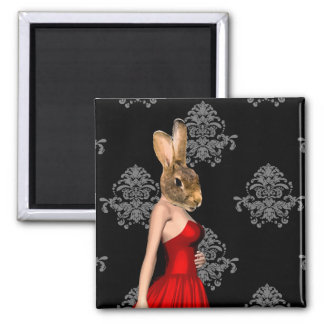 Bunny in red dress 2 inch square magnet