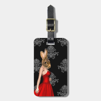 Bunny in red dress bag tag