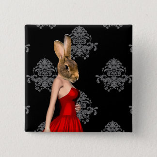 Bunny in red dress button