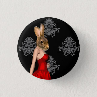 Bunny in red dress pinback button