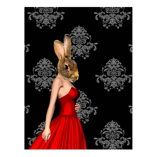 Bunny in red dress postcard