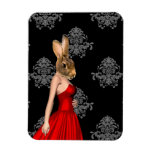 Bunny in red dress rectangular magnets