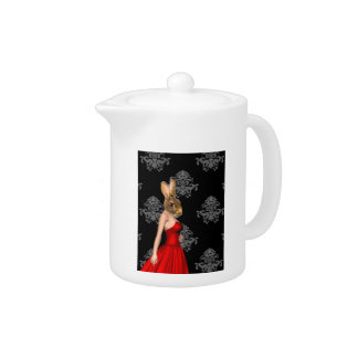 Bunny in red dress teapot