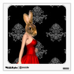 Bunny in red dress wall graphic