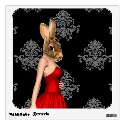 Bunny in red dress wall sticker
