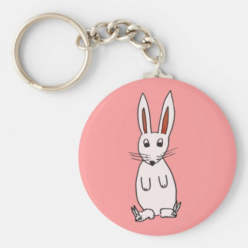 Bunny in Slippers Basic Round Button Keychain