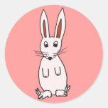 Bunny in Slippers Round Sticker
