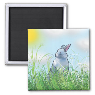 Bunny in the Grass 2 Inch Square Magnet