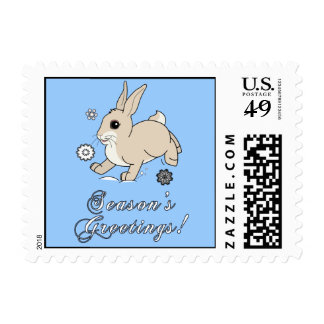 Bunny in the Snow Non-Denominational Postage Stamp