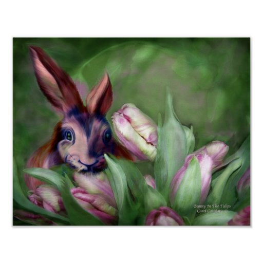 Bunny In The Tulips Art Poster/Print