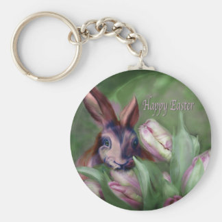 Bunny In The Tulips Easter Keychain