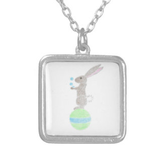 Bunny Juggler Silver Plated Necklace