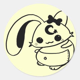 bunny kawaii doll round sticker