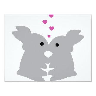 bunny kiss icon 4.25x5.5 paper invitation card