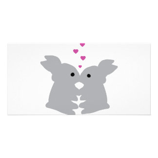 bunny kiss icon photo card template