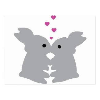 bunny kiss icon postcard
