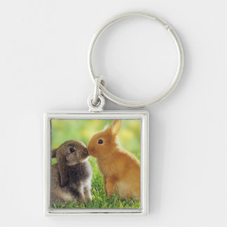 Bunny Kiss Silver-Colored Square Keychain