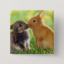 Bunny Kiss Pinback Button