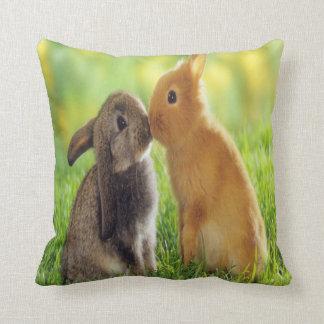 bunny kiss throw pillow