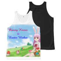 Bunny Kisses & Easter Wishes (Customizable) All-Over-Print Tank Top