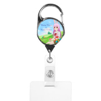 Bunny Kisses & Easter Wishes (Customizable) Badge Holder