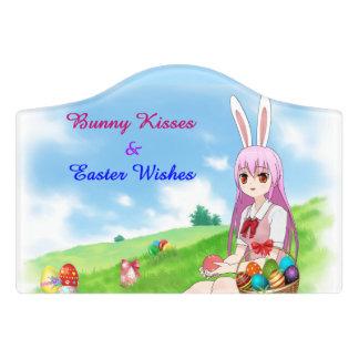 Bunny Kisses & Easter Wishes (Customizable) Door Sign