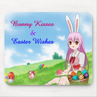 Bunny Kisses & Easter Wishes (Customizable) Mouse Pad