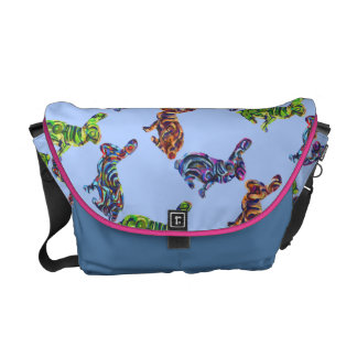 Bunny Kissing Painting Shapes Messenger Bag