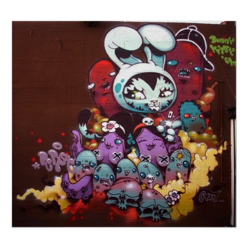Bunny Kitty spray paint on wall Poster