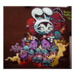 Bunny Kitty spray paint on wall Print