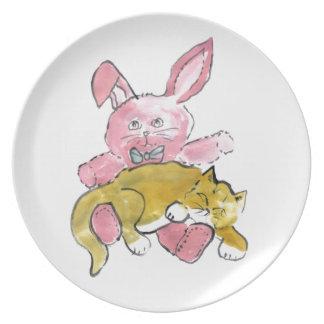 Bunny Lap Nap for Kitten Melamine Plate