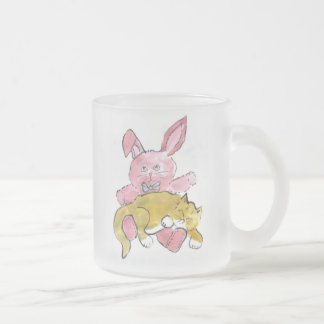 Bunny Lap Nap for Kitten 10 Oz Frosted Glass Coffee Mug