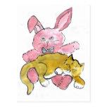 Bunny Lap Nap for Kitten Postcard
