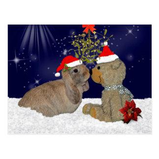 Bunny Love at Christmas Postcard