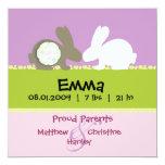 """Bunny Love Birth Announcement 5.25"""" Square Invitation Card"""