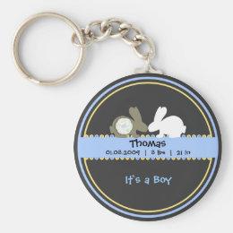 Bunny Love Birth Announcement Key Chain