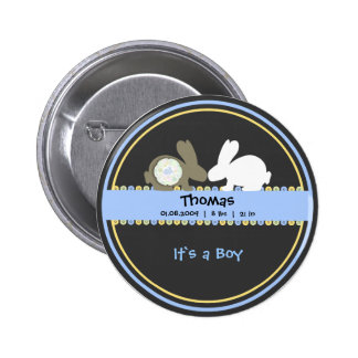 Bunny Love Birth Announcement Round Button